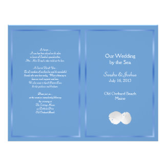 Programme bleu de mariage de plage des dollars de prospectus 21,6 cm x 24,94 cm