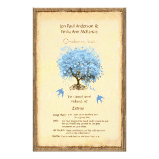 Programme bleu lunatique de mariage d'arbre de prospectus 14 cm x 21,6 cm