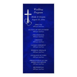 Programme croisé chrétien argenté bleu de mariage double carte personnalisée