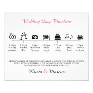 Programme de chronologie de mariage d'icône prospectus 11,4 cm x 14,2 cm