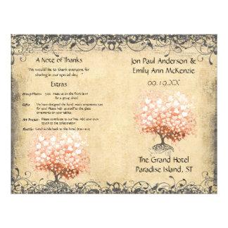 Programme de corail léger rustique de mariage prospectus 21,6 cm x 24,94 cm