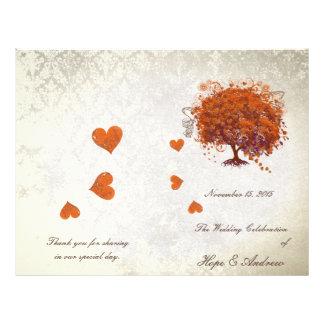 Programme de mariage d'arbre de feuille de coeur prospectus 21,6 cm x 24,94 cm
