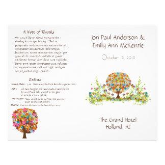 Programme de mariage d'arbre de fleur prospectus 21,6 cm x 24,94 cm