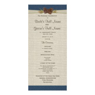 Programme de mariage de bleu marine de cônes et de carte double customisable
