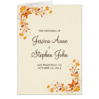 Programme de mariage de feuillage d'automne