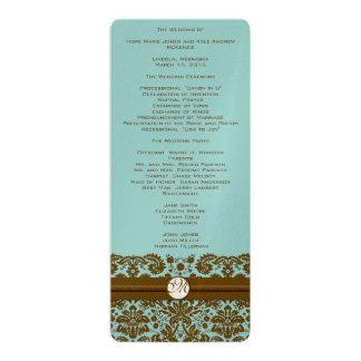 Programme de mariage de monogramme de damassé d'or carton d'invitation  10,16 cm x 23,49 cm