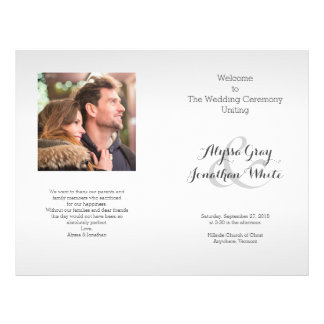 Programme de mariage de photo de gris argenté plié prospectus 21,6 cm x 24,94 cm