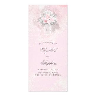 Programme de mariage de pot de maçon de roses de