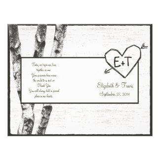 Programme découpé de mariage d'arbre de bouleau prospectus 21,6 cm x 24,94 cm