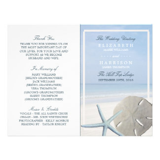 Programme du dollar de sable et de mariage de prospectus 21,6 cm x 24,94 cm
