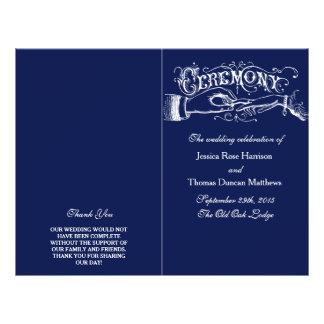 Programme élégant de cérémonie de mariage de bleu prospectus 21,6 cm x 24,94 cm