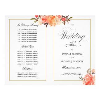 Programme élégant de mariage de automne de contact prospectus 21,6 cm x 24,94 cm