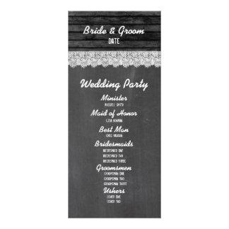 Programme en bois noir de mariage de tableau