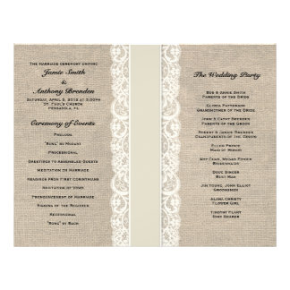 Programme en ivoire rustique de mariage de ruban prospectus 21,6 cm x 24,94 cm