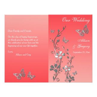 Programme floral 2 de mariage de papillon argenté prospectus 21,6 cm x 24,94 cm