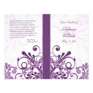 Programme floral abstrait de mariage de pourpre et prospectus 21,6 cm x 24,94 cm