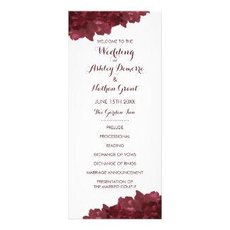 Programme floral de mariage coloré par vin