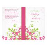 Programme floral de mariage d'abrégé sur vert rose prospectus customisé