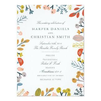 Programme floral de mariage d'automne carton d'invitation  13,97 cm x 19,05 cm