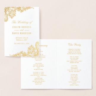 Programme floral de mariage de feuille d'or de