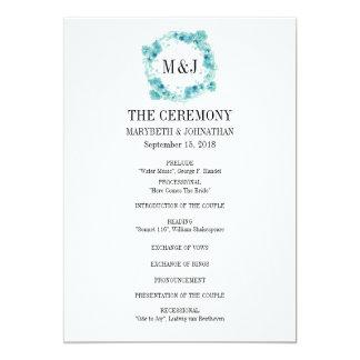 Programme floral de mariage de guirlande carton d'invitation  12,7 cm x 17,78 cm