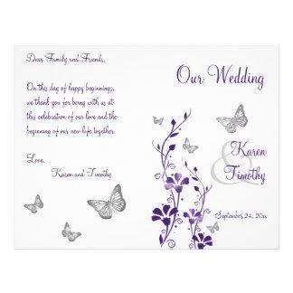Programme floral de mariage de papillon argenté prospectus 21,6 cm x 24,94 cm