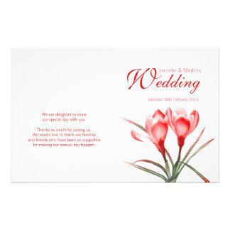 Programme floral de mariage de rouge orange de prospectus 14 cm x 21,6 cm