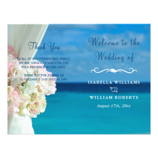 Programme floral élégant de mariage d'été de plage prospectus 21,6 cm x 24,94 cm