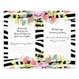 Programme floral élégant de mariage prospectus 11,4 cm x 14,2 cm