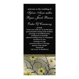 programme floral jaune et noir en ivoire de