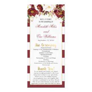 Programme floral rayé de cérémonie de mariage de