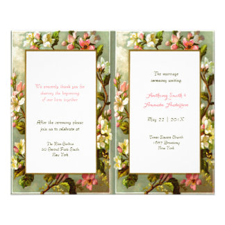 Programme floral vintage élégant de mariage de prospectus 11,4 cm x 14,2 cm