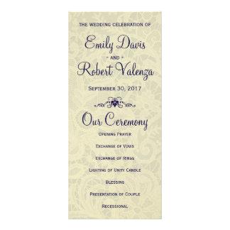 Programme formel royal de mariage de bleu marine cartes doubles customisables