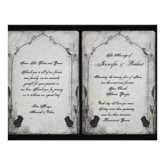 Programme gothique de mariage de treillis de rose prospectus 21,6 cm x 24,94 cm