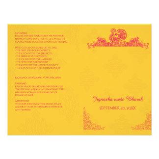 Programme indou de mariage de safran et de paon prospectus 21,6 cm x 24,94 cm