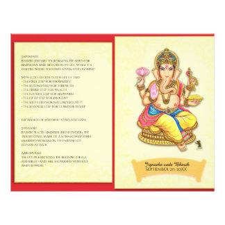Programme indou indien de mariage de Ganesha Prospectus 21,6 Cm X 24,94 Cm