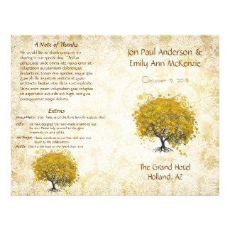 Programme jaune lunatique de mariage d'arbre de prospectus 21,6 cm x 24,94 cm