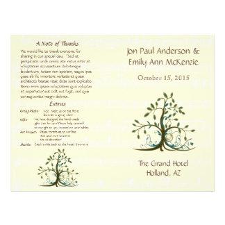 Programme lunatique musical de mariage d'arbre prospectus 21,6 cm x 24,94 cm