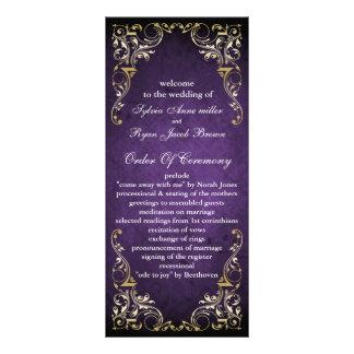 programme majestueux pourpre rustique de mariage carte double