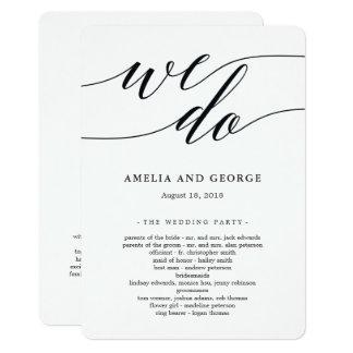 Programme moderne de cérémonie de mariage de carton d'invitation  12,7 cm x 17,78 cm