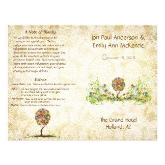 Programme musical de mariage d'arbre de fleur prospectus 21,6 cm x 24,94 cm