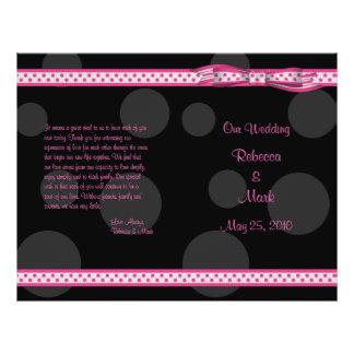 Programme noir rose de mariage d'arc de ruban de prospectus 21,6 cm x 24,94 cm