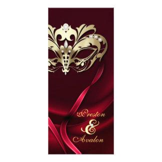 Programme orné de bijoux rouge de mariage de masca double cartes customisées