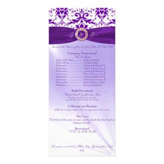 Programme pourpre de cérémonie de mariage carte double
