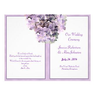 Programme pourpre de mariage de modèle d'hortensia prospectus 21,6 cm x 24,94 cm