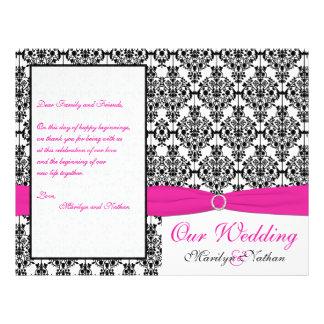 Programme rose, blanc, et noir de mariage damassé prospectus personnalisés