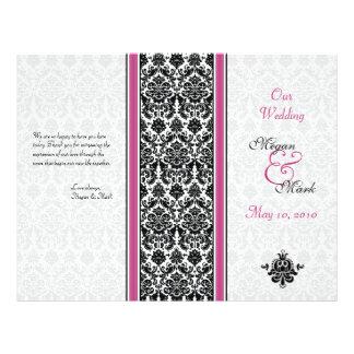 Programme rose et noir de mariage damassé tract personnalisé