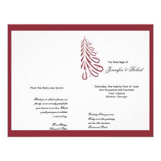 Programme rouge et blanc de mariage d'hiver prospectus 21,6 cm x 24,94 cm