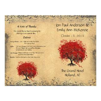 Programme rouge lunatique de mariage d'arbre de prospectus 21,6 cm x 24,94 cm