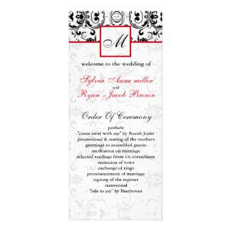 Programme rouge noir de mariage de MONOGRAMME de Motif Pour Double Carte
